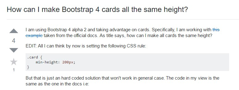 Insights on  exactly how can we  establish Bootstrap 4 cards  all the same  height?