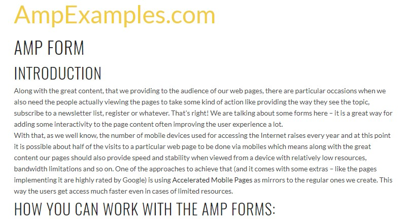 Let's  review AMP project and AMP-form  feature?