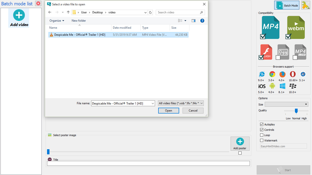 MP4 to HTML5 converter